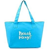 Bolsa de Praia Feminina em Lona de Algodão Azul Turquesa