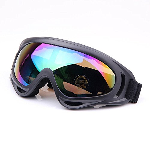Viriber Snow Googles Windproof UV400 Motorcycle Snowmobile Ski Bicycle Riding Goggles Eyewear Sports Protective Safety Glasses (Colorful-Lens)