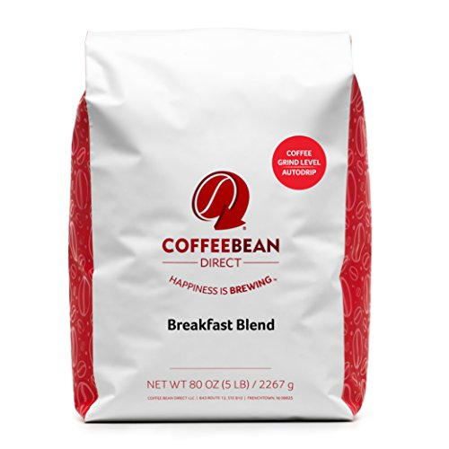 Breakfast Blend Ground (Coffee Bean Direct Breakfast Blend, Ground Coffee, 5-Pound Bag)