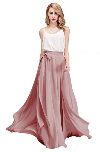 (Honey Qiao Chiffon Bridesmaid Dresses High Waist Long Woman Maxi Skirt (Medium, Dusty Rose))