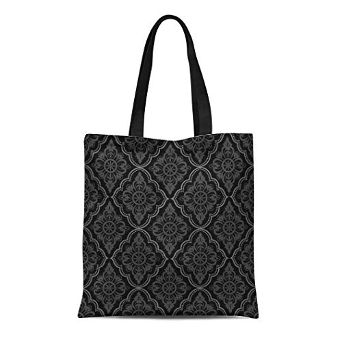 (Semtomn Canvas Bag Resuable Tote Grocery Adorable Shopping Portablebags Baroque Black Damask Vintage Floral Pattern Grey Scroll Antique Contemporary Natural 14 x 16 Inches Canvas Cloth Tote Bag)