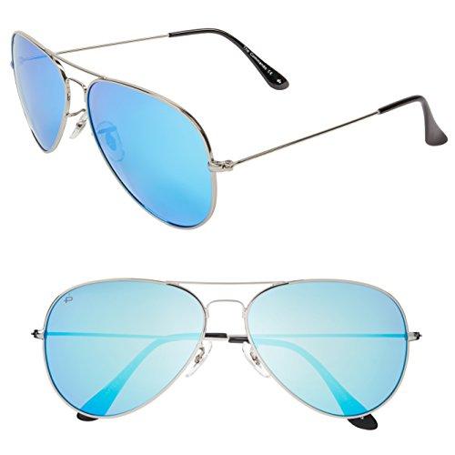 "PRIVÉ REVAUX ""The Commando"" Polarized Aviator Sunglasses - Handcrafted Designer Eyewear For Men & Women (Silver)"
