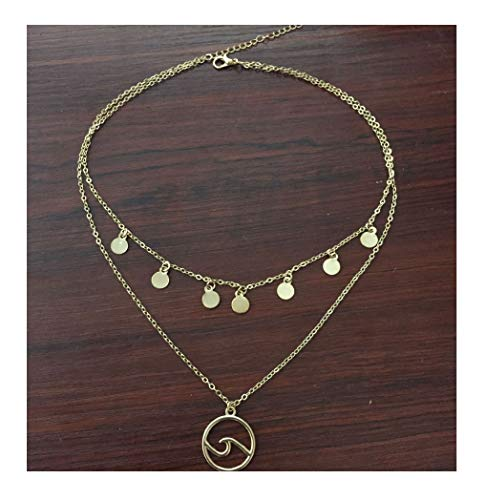Tiande Sequins Choker Silver Wave Neckalce Double Layer Pendant Necklaces for Women and Girls Jewelry -Gold