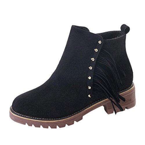 Transer® Damen Flach Kunstleder Stiefeletten Warm Knöchel Kurz Stiefel Winter Schuhe Martin Boot mit Quaste & Nieten Schwarz