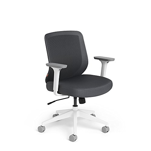 Poppin Dark Gray Max Task Chair, Mid Back, White Frame
