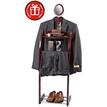 ClosetMate Executive Clothes Valet Stand - Beautiful Solid Hardwood Valet Clothing Hanging System with Mirror, Rack for Shoes, Tray for Cell phone and Keys, Great Gift
