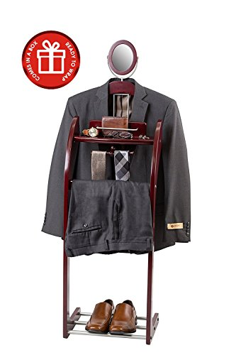 - ClosetMate Executive Clothes Valet Stand - Beautiful Solid Hardwood Valet Clothing Hanging System with Mirror, Rack for Shoes, Tray for Cell phone and Keys, Great Gift