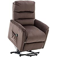BONZY Lift Recliner Contemporary Power Lift Chair Soft Warm Fabric Remote Control Gentle Motor - Chocolate