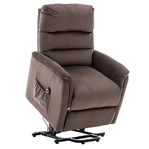 Reclining Medical Chairs - BONZY Lift Recliner Contemporary Power Lift Chair Soft and Warm Fabric with Remote Control for Gentle Motor - Chocolate