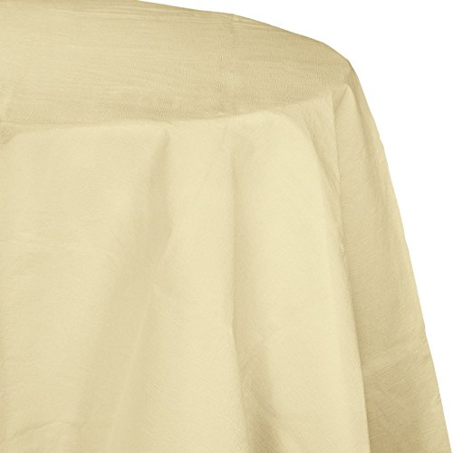 Club Pack of 12 Elegant Ivory Disposable Tissue/Poly Octy-Round Picnic Party Table Covers 82