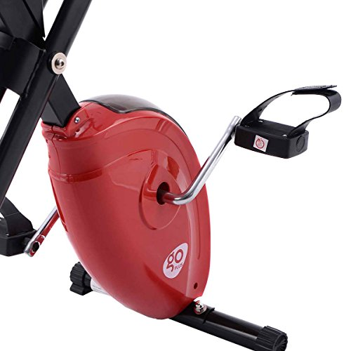 Goplus Exercise Bike Magnetic Resistance Upright Folding Bicycle Cardio Workout Cycle Fitness Stationary for Home (Red)