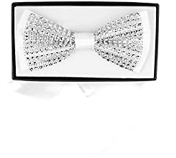 White and Clear Shiny Plastic Rhinestone Trimmed Bow Tie and Handkerchief Set