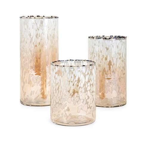 CC Home Furnishings Set of 3 White and Amber Hurricanes Candle Holders 11.5''
