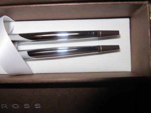 Cross Chrome Desk Set Style Ballpoint Pen 0.5mm Pencil Set Brown with Gold Cap