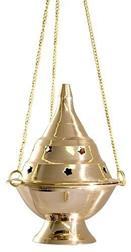 "Accessories - Brass Burners Hanging Censer/Charcoal Incense Burner, 4.5"" H"