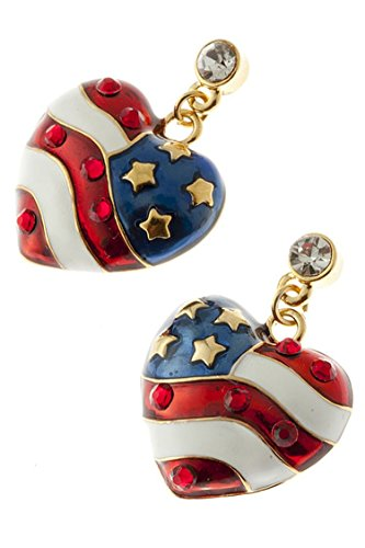 KARMAS CANVAS PATRIOTIC HEART EARRINGS - Ripka Ring Judith 18k