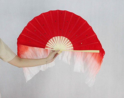 FixtureDisplays Red & White Hand Made Belly Dance Silk Bamboo Long Fan Veils 16124!