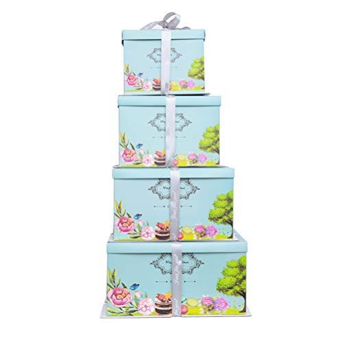 NACOLA - Juego de 4 Cajas para Tartas con Cintas (Color al Azar), 4 tamaños