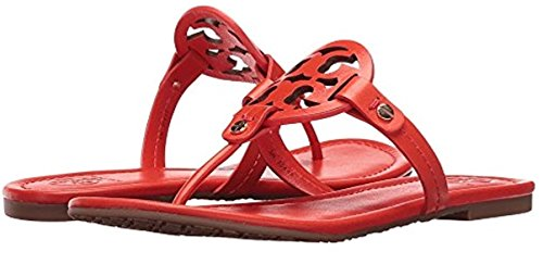 Tory Burch Miller Leather Logo Sandal in Red (Samba) Size 6