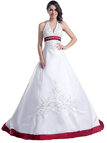 Snowskite Halter Embroidery Satin Wedding Bridal Dress 0 Burgundy&Ivory (Length Satin Square Tea)