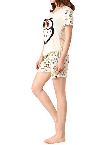 VENTELAN Women's Cute Owl Printed Sleepwear Pajama Sets ...