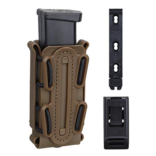 Horizontal Magazine Pouch - IDOGEAR 9mm Pistol Magazine Pouch Tactical Fastmag Soft Shell Mag Carrier Hunting Airsoft Gear (Coyote Brown)