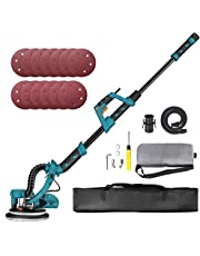 Drywall Sander with Vacuum Cleaner Adapter, 13 Sanding Paper Discs, Double-Deck LED Lights, 6 Variable Speed, Extendable Handle and Carrying Bag, Ideal for Home DIY and Decoration to PDS03AS