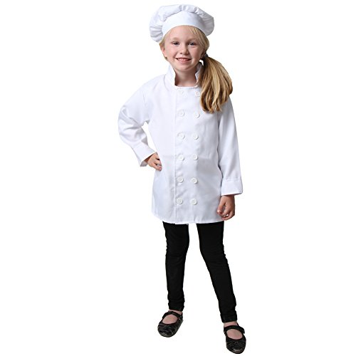 Kids White Chef Jacket & Hat, Size 2/4