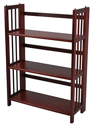 Casual Home 3-Tier Folding Bookcase in Mahogany Finish - Mahogany 3 Tier