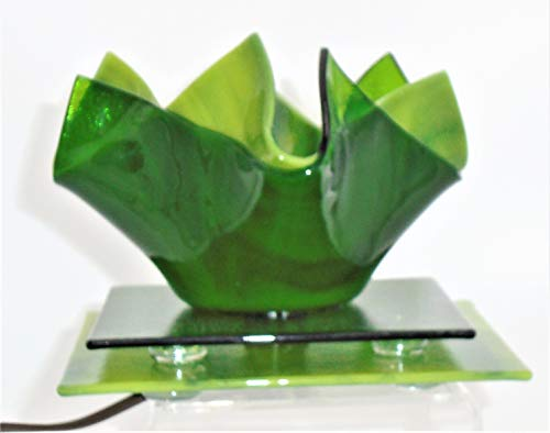 Decorative Green Electric Candle Holder Handcrafted Fused Glass (Sherwood Night Light)