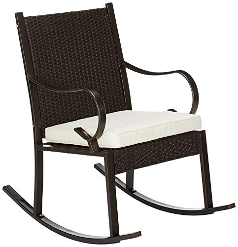 Christopher Knight Home 304344 Muriel Outdoor Wicker Rocking Chair, Dark Brown/Cream Cushion