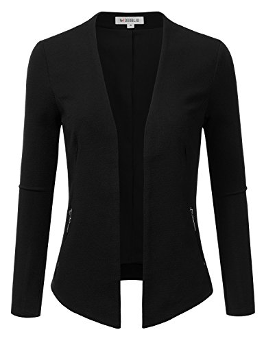 Doublju Classic Collarless Open Front Blazer Jacket For Women With Plus Size BLACK SMALL
