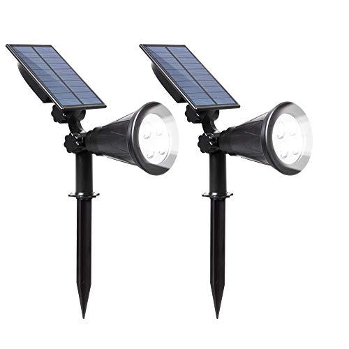ILIKE Solar Lights Outdoor Bright Adjustable 4 LED Landscape Lights Waterproof 2-in-1 Wall Lights in-Ground Light Security Lighting Dark Sensing Auto On/Off Solar Uplight (White 2Pack(6000K))