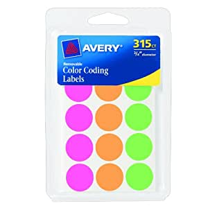 Avery Round Color Coding Labels, 0.75 Inch, Assorted, Removable,Pack of 315 (6733)