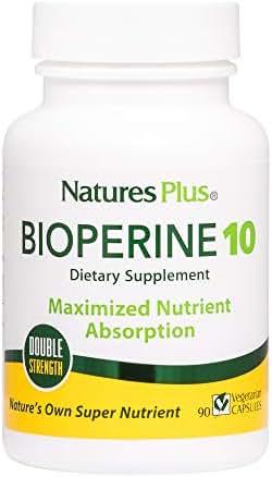 NaturesPlus Double Strength Bioperine Black Pepper Extract - 10 mg, 90 Vegetarian Capsules - Nutrient & Herb Absorption Enhancer Vitamin Supplement - Hypoallergenic, Gluten-Free - 90 Servings