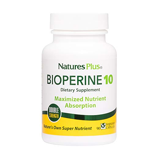 NaturesPlus Double Strength Bioperine Black Pepper Extract - 10 mg, 90 Vegetarian Capsules - Nutrient & Herb Absorption Enhancer Vitamin Supplement - Hypoallergenic, Gluten-Free - 90 - Black Pepper Bioperine
