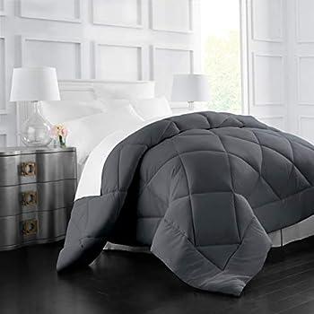 Italian Luxury Goose Down Alternative Comforter - All Season - 2100 Series Hotel Collection - Luxury Hypoallergenic Comforter - King,Cal King - Gray