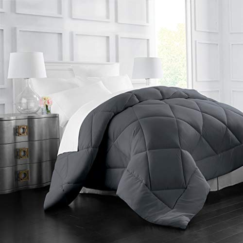 Italian Luxury Goose Down Alternative Comforter - All Season - 2100 Series Hotel Collection - Luxury Hypoallergenic Comforter - King,Cal King - Gray (Comforter King Grey)