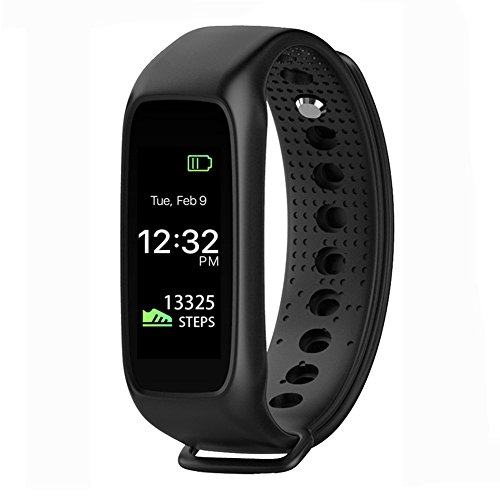 LEMFO L30T Wearable Waterproof Heart Rate Monitor Wirless Fitness Tracker Sport Wristband with Multi-Functions Activity Smart Bracelet Band Pedometer Watch for Andriod and iOS (Black)