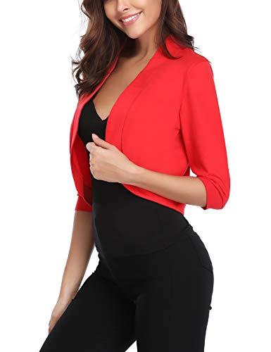 Corto Corte Aperto Cardigan Maniche 4 Rosso 3 A Iclosam Donna Da Taglio Bolero Frontale 8wAYYq
