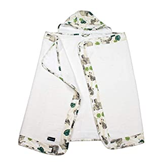 Bebe au Lait Jungle Muslin Hooded Towel Toddler, Green, One Size