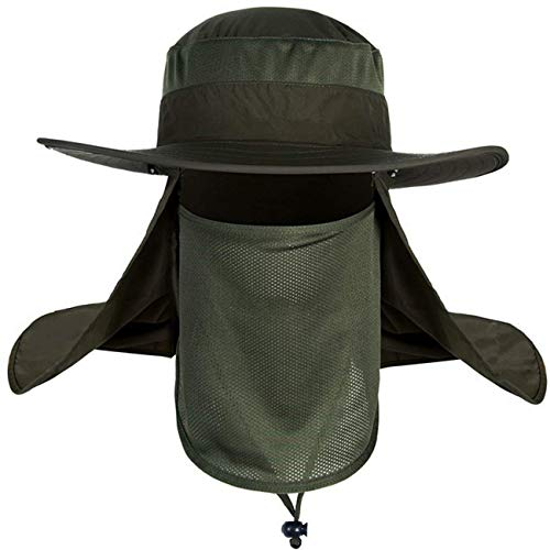 680f49d24f686 Men Women Fishing Sun Hat with Removable Neck Face Flap Sun Hat Waterproof Bucket  Hat Breathable Mesh Boonie Hat