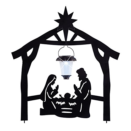 Collections Etc Solar Lantern Nativity Silhouette Stake