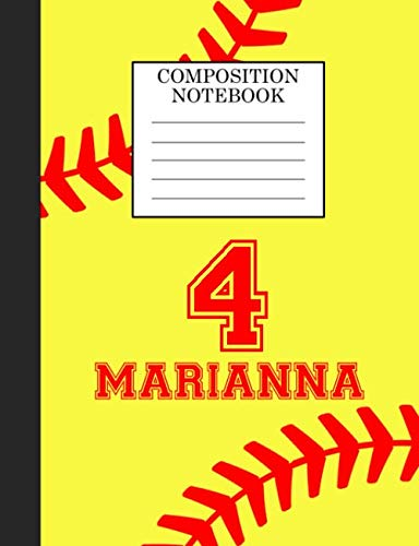 Marianna 4 Composition Notebook: Softball Composition Notebook Wide Ruled Paper for Girls Teens Journal for School Supplies   110 pages 7.44x9.269 por Sarah Blast
