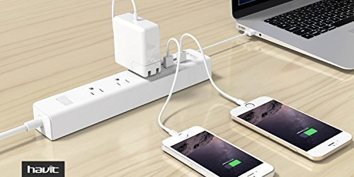 HAVIT USB Power Strip/PowerPort Strip, with 4-Port USB Charging Stations and 3 AC Outlets Plus, Home/Office Surge Protector with 5ft Cord for Smartphone and Tablets[New Version] by Havit (Image #5)