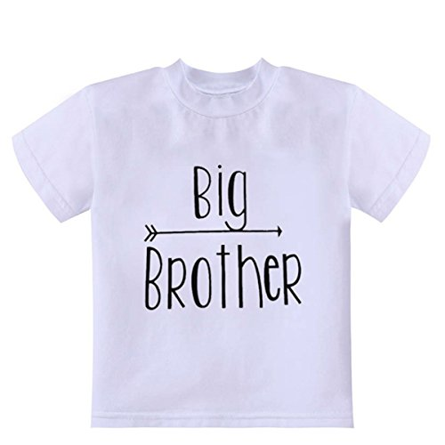 WINZIK Newborn Infant Baby Boys Girls Outfits Big and Little Brother Letters Printed Romper Jumpsuit Clothes T-Shirt (9-12 Months, Big Brother)