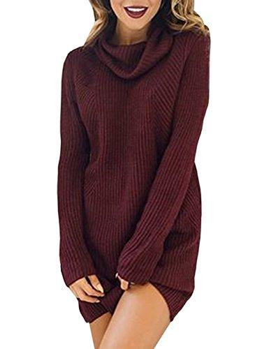 Dolcevita Maglione Donna Turtleneck Collo Abito Autunno Lana Maglietta Moda Sweater Maglie Vestito Maglieria Maglia Alto Irregolare Di Rosso Eleganti Inverno gqRdxn