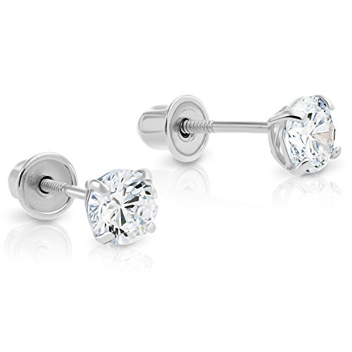 (14k White Gold Solitaire Cubic Zirconia CZ Stud Earrings with Secure Screw-backs (4mm))