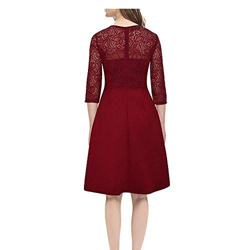 Rouge 3 4 Stil Robe Taille Femmes Genou Manches Vintage d Dentelle Haut au en 4vOSqTWB