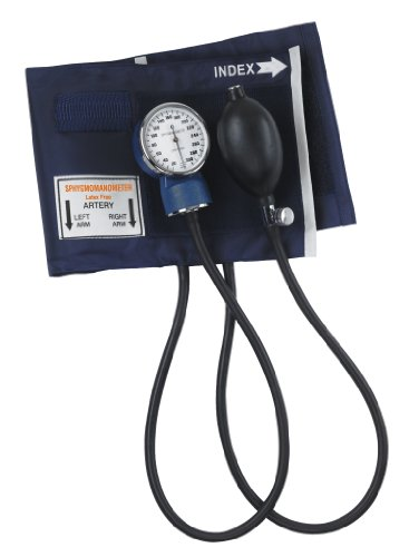 MABIS Thigh Aneroid Sphygmomanometer Manual Blood Pressure Monitor with Calibrated Nylon Adult Size Thigh Cuff, Blue